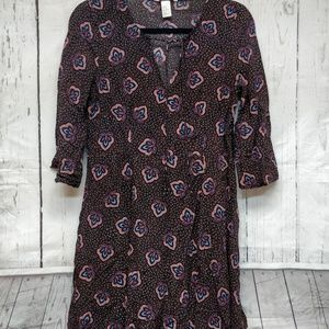 H&M Boho Dress Paisley Indie Short Sleeve US 12